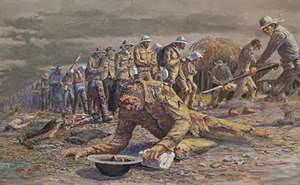 One of Steele's pictures of the Bataan Death March.