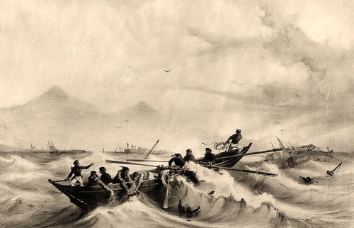 Lithograph by A. Mayer, Paris, depicting a whaleboat crew from the French Navy brig le Mercure rescuing survivors of the capsized Somers, off Vera Cruz, Mexico. Somers is visible in the right background, on her beam ends.