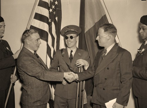 Communists get together. Washington, D.C., Feb. 12. Americans, all of whom fought and many wounded while fighting for the Loyalists in Spain, met today in Washington at the First National Conference of the Veterans of the Abraham Lincoln Brigade, left to right: Francis J. Gorman, President of the United Textile Workers of America; Lieut. Robert Raven, wounded and blinded in the Spanish War; and Commander Paul Burns of Boston Commander of the Lincoln Brigade, 2/12/38