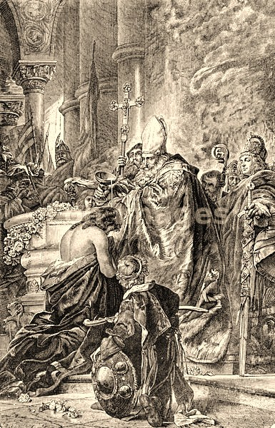 "19th-century illustration, ""Baptism of St. Stephen by Sylvester II."" Stephen I (AKA Stephen the Great, St, Stephen), the first king of Hungary.  He was crowned king in A.D. 1000 by Pope Sylvester II, and was made a saint posthumously for his role in the Christianization of Hungary."