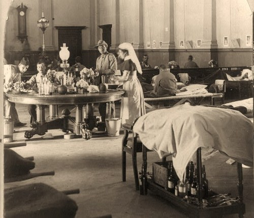 Where the sick and wounded British soldiers are cared for - interior of the Raadzaal, Bloemfontein, South Africa