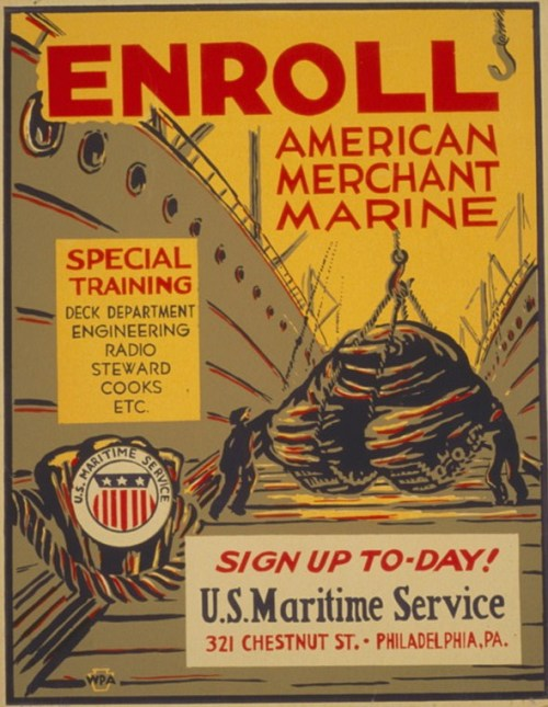 Poster encouraging skilled laborers to sign up at the U.S. Maritime Service, 321 Chestnut St. Philadelphia, Pa., as part of the war effort, showing longshoremen loading tank on ship.