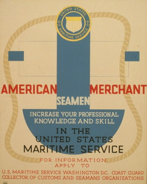 Poster for the United States Maritime Service offering training courses to members of the American Merchant Marine.