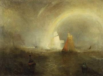 'The Wreck Buoy', Joseph Mallord William Turner, 1849 - The art critic John Ruskin, a great admirer of Turner, described this as 'the last oil he painted before his noble hand forgot its cunning'. It is a re-working of an earlier picture and a summation of Turner's concern with the sea. The artist's  view of human endeavour and of hope is symbolised by the rainbow and the wreck buoy beneath it.