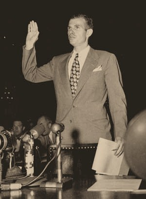 Alger Hiss getting ready to commit perjury to protect his fellow spies
