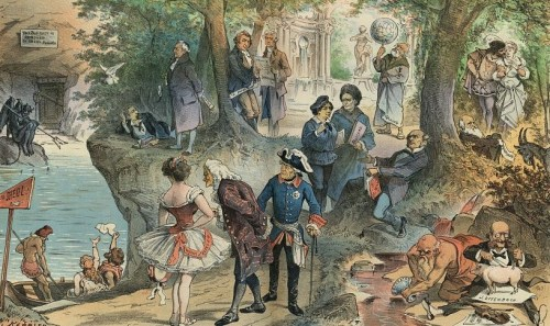 """Illustration shows a number of historical figures enjoying the pleasant atmosphere of """"Sheol"""" after suffering the flames of Hell; at left is a dejected Devil sitting beneath a sign that states """"This Business is Removed to Sheol, Opposite"""". Among those ferried across the river by """"Charon"""" are """"Hypatia, Fanny Elssler, Voltaire, Frederick [the] Great, Socrates, J. Offenbach, Darwin, J.S. Mill, Rousseau, George Sand, Galileo, Jefferson, Th. Paine, Goethe, [and] H. Heine""""."""