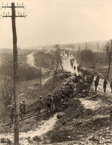 U.S. Army in France: Line of soldiers on muddy road
