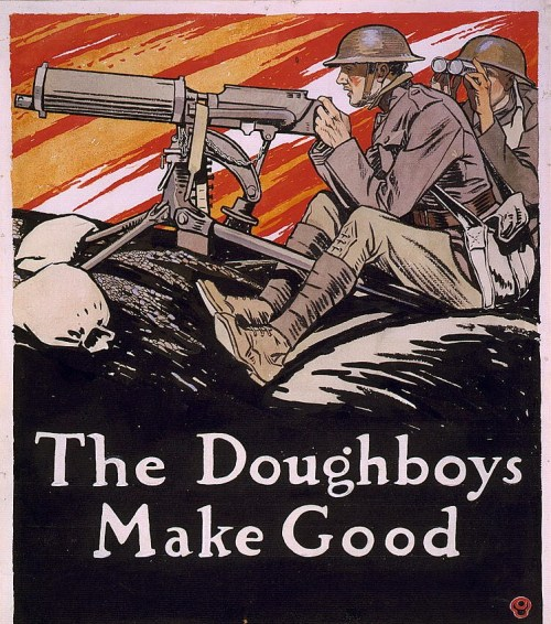 "This cover design for Collier's Magazine highlights the bravery and skill of the ""dough boys"" or infantrymen of the American Expeditionary Forces during World War I. Against a colorfully streaked sky, Edward Penfield boldly outlines two soldiers, one aiming a machine gun, the other surveying the field of battle. By the time Penfield created this cover, U.S. forces had halted the German advance on Paris and other actions of the Allies had checked the German offensives by late June."