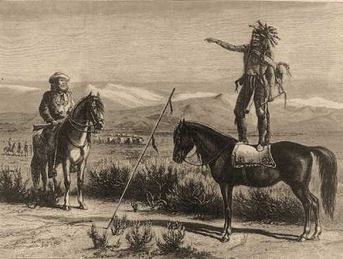 A Chief [standing on horseback] forbidding the passage of a [wagon] train through his country