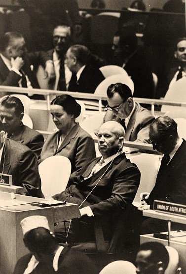 The Soviet peasant in chief preparing to bang his shoe on the table at the United Nations and threaten to bury us all - after he had visited Disneyland
