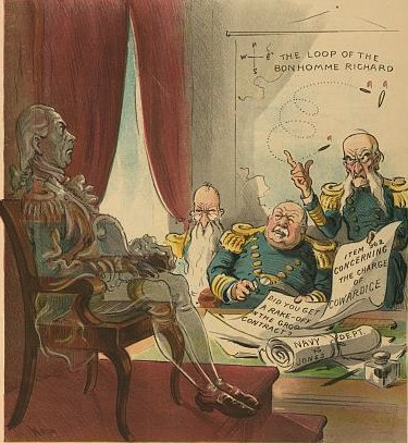 "Illustration shows three elderly naval officers questioning the spirit of John Paul Jones regarding the ""Navy Dept. vs. Jones"" for charges of conduct during the Revolutionary War, such as ""Item 962 concerning the charge of cowardice"" and on another paper ""Did you get a rake-off in the Grog contract?"" A map on the wall in the background shows ""the loop of the Bonhomme Richard"". The cartoonist is spoofing a court of inquiry requested by Admiral Winfield Scott Schley following accusations regarding his conduct during the Battle of Santiago."