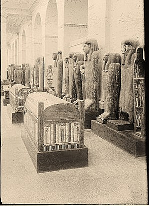 Egyptian views; Cairo (Masr). Mummy coffins in Cairo Museum