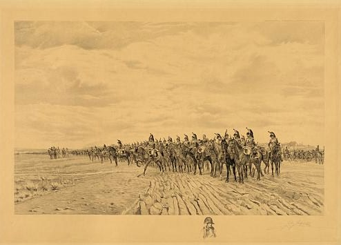 Print showing long line of French cavalry with artillery moving behind them at Austerlitz. Includes remarque of Napoleon, half-length portrait, facing slightly right.