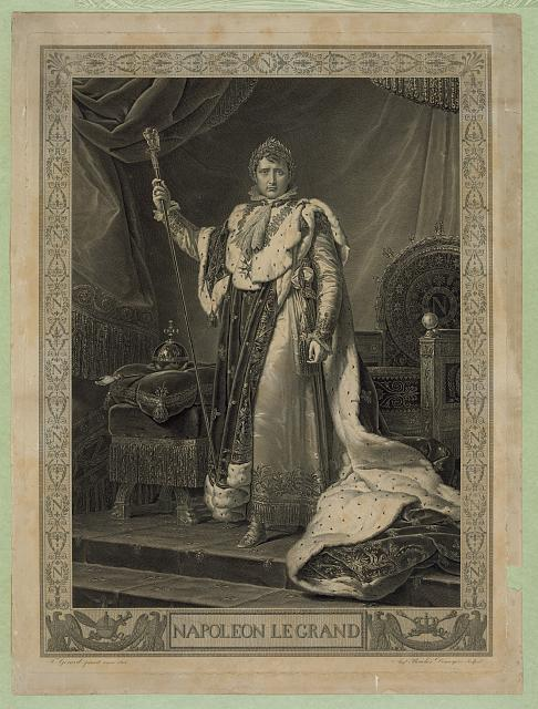 Print showing Napoleon I, full-length portrait, facing front, standing in front of throne.