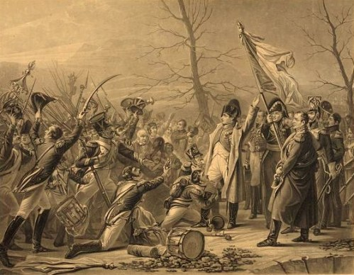 Print showing Napoleon I greeting French soldiers and citizens after his escape from Elba.