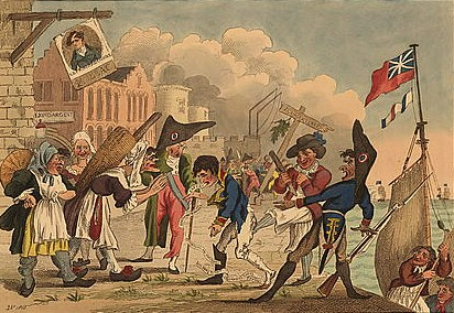 "Print shows Napoleon I coming ashore at Calais, France, defeated at every turn, without men and ships, to face the ridicule of fisherwomen, the governor, a French soldier, and an English sailor who says, ""Take one kick at parting & thank your own insignificance the English suffer'd you to return to France alive."""