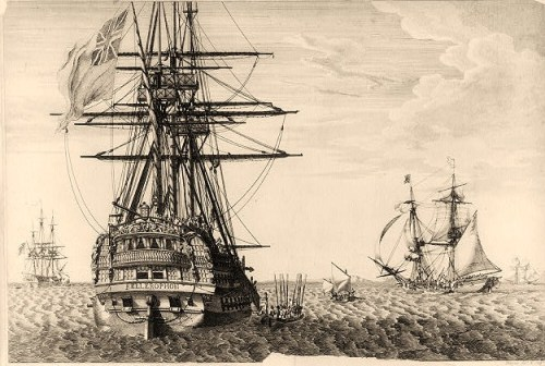 Print shows a view of the HMS Bellerophon from the aft with a rowboat drawn along the starboard side and Napoleon I climbing stairs to board the ship in order to surrender to the British and Captain Frederick L. Maitland. Other ships are visible in the area, one may be the HMS Superb.