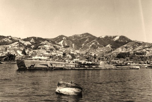 I-58 (Japanese Submarine, 1944-1946), outboard of I-53 (Japanese Submarine, 1943-1946)At Kure, Japan, 16 October 1945. I-58 sank USS Indianapolis (CA-35) on 30 July 1945.