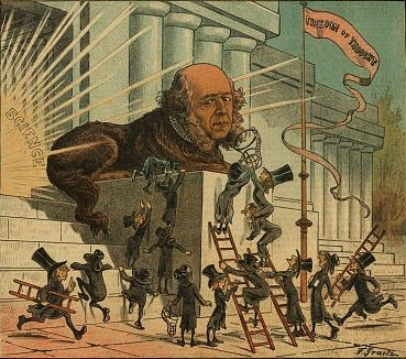 "Illustration shows Herbert Spencer as a statue of a large dog at the entrance to a public building emitting rays of light labeled ""Science""; many diminutive men, wearing oversized top hats, scamper about with ladders and muzzles in an attempt to silence Spencer's views on religion and science. On a nearby flagpole hangs a banner that states ""Freedom of Thought""."