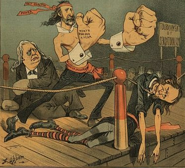 "Illustration shows a boxing ring with Henry Ward Beecher, Thomas De Witt Talmage, and the ""Rev. Dr. Monck"" who has knocked them both out at a ""Tournament of Sensationalism""; he wears a bandana labeled ""Holy Healing Power"" around his head and his right hand is inscribed ""Worth $50,000 a Year"", he has hugely oversized fists. Beecher is slumped against the ropes, with a blackeye; Tilton, not wearing boxing gloves, hangs over the ropes."