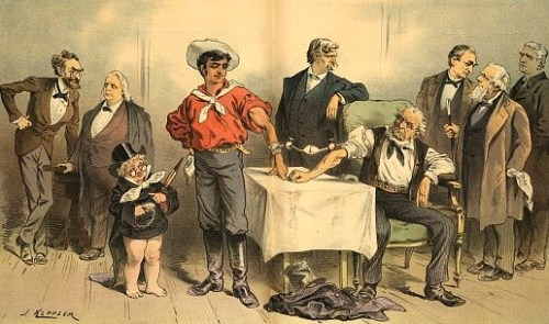 "Illustration shows Puck standing next to the symbolic figure labeled ""Independent"" who is undergoing a blood transfusion with an old man labeled ""Democracy"" sitting in a chair; among the men depicted observing the operation are Carl Schurz, Henry Ward Beecher, and Henry Watterson."