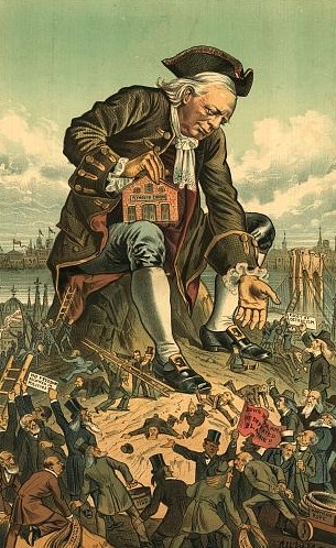"Illustration shows Henry Ward Beecher as Gulliver holding on his knee a small building labeled ""Plymouth Church"" and reaching his left hand out, in a friendly gesture, toward a crowd of ""Liliputians"" who are scampering about, some with ropes labeled ""Partisan Rope, Caucus Rope, [and] Political Slavery"", others with signs that state ""Down with him. He defeated Blaine!!, No freedom Allowed in Politics, [and] Edict of Ostracism""."