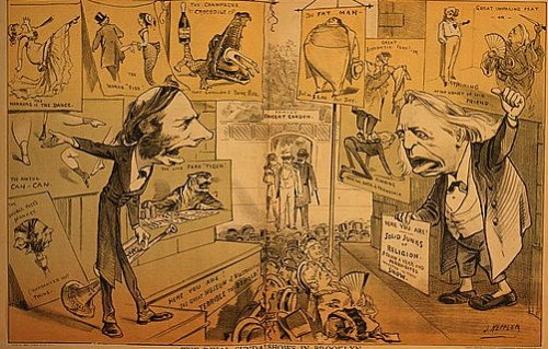 "Cartoon showing Thomas DeWitt Talmage on one side, trying to get people to come into Museum of Monstrosities, and Rev. Henry Ward Beecher on the other side holding sign ""Here you are! Solid junks of religion ...""."