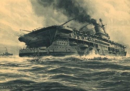 "Der englische flugzeugträger ""Courageous"" wird von deutschem U-boot versenkt. Print shows passengers abandoning the HMS Courageous, a British aircraft carrier, on September 17, 1939 after it was torpedoed by a German Uboat."