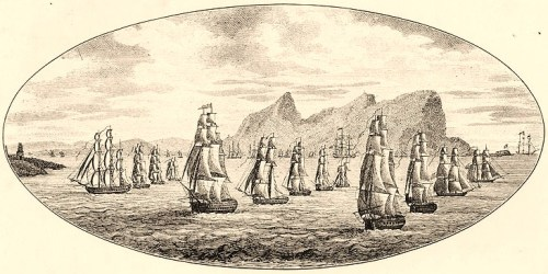 Campaign against the Barbary Powers, 1815  Engraving depicting Commodore William Bainbridge's squadron sailing from Gibraltar on 6 October 1815.