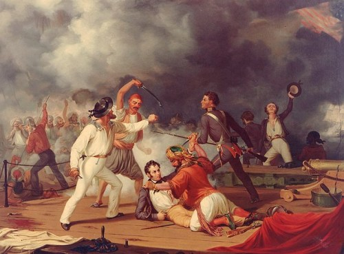 Stephen Decatur's Conflict with the Algerine at Tripoli during the boarding of a Tripolitan gunboat on 3 August 1804.