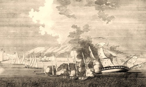 A perspective View of the loss of the U.S. Frigate Philadelphia in which is represented her relative position to the Tripolitan Gun-boats when during their furious attack upon her she was unable to get a single gun to bear upon them. Contemporary engraving after a drawing by Charles Denoon.