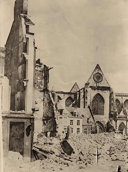 Photograph shows a church destroyed during World War I, in Louvain, Belgium.