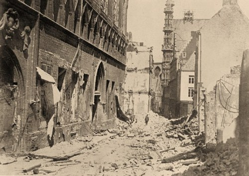 Photograph shows a library which was damaged during World War I, Louvain, Belgium
