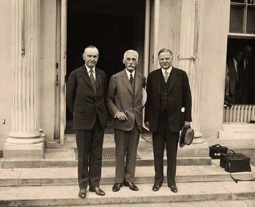 Calvin Coolidge, Andrew Mellon and Herbert Hoover. White House, Washington, D.C.
