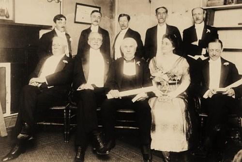 Dr. R.B. Owens, J.J. Carty, Frank Sprague, Wm. Stanley, Sam'l Insull, Dr. Walton Clark, T.A. Edison and wife, Chevalier Van Rappard, Dr. R. Tait McKenzie