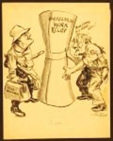 """Cartoon shows an exhausted ragged figure labeled """"Congress"""" handing President Roosevelt (clad in a sportsman's hat and carrying fishing gear) a huge rolled up document labeled """"$4,880,000,000 Work Relief."""" Congress begs, """"Now, lemme go home, Boss!"""" In April 1934, after marathon sessions lasting almost three months, Congress passed Roosevelt's multi-billion dollar relief bill, the largest single appropriation in the nation's history. The bill was carried to the president who signed it on the train as he returned from a 13-day fishing trip."""