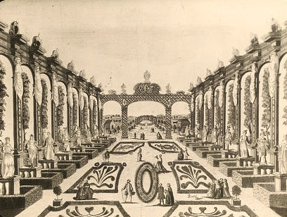 "Reproduction of print showing Axarian Pleasure Garden, Saint Petersburg, Russia. View to trellis. Photograph of a copper plate engraving, ""Prospectus Horti Deliciarum Axariani,"" from the workshop of Giovanni Antonio Remondini, Bassano, Italy, 1780."