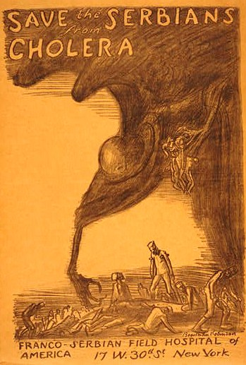 Poster showing a figure of Death reaching down from storm clouds to menace a devastated populace.