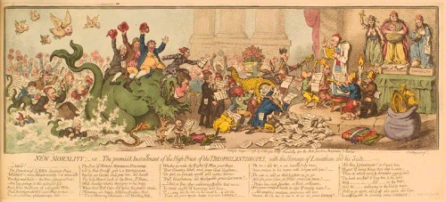 'New morality; - or - the promis'd installment of the high-priest of the Theophilanthropes, with the homage of Leviathan and his suite' by James Gillray, published by John Wright hand-coloured etching, published 1 August 1798