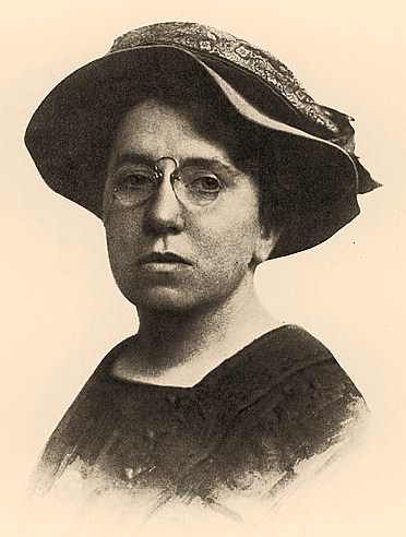 "Frontispiece from ""Anarchism and other essays"" with bust portrait of Emma Goldman, facing front"