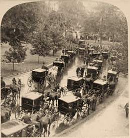 The cortege leaving the White House, President McKinley's funeral, Sept. 17, 1901, Washington