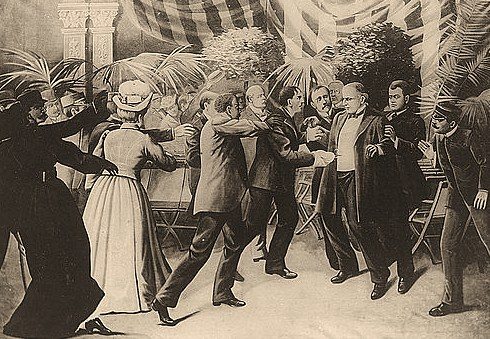 Czolgosz shoots President McKinley with a concealed revolver, at Pan-American Exposition reception, Sept. 6th, 1901.
