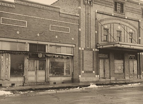 Abandoned stores and movie house. Zeigler, Illinois