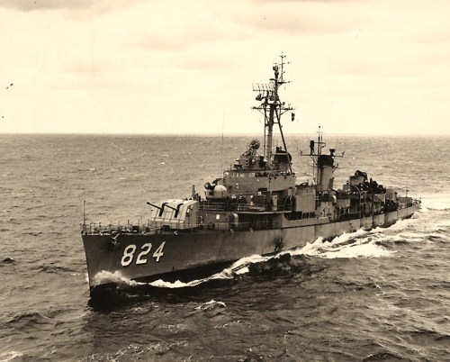 The destroyer USS Basilone (DDE-824) was named in honor of Gunnery Sergeant Basilone pictured here underway at sea Official U.S. Navy Photograph, from the collections of the Naval Historical Center.