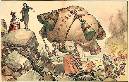 """Print shows an aged man labeled """"Russian Jew"""" carrying a large bundle labeled """"Oppression"""" on his back; hanging from the bundle are weights labeled """"Autocracy,"""" """"Robbery,"""" """"Cruelty,"""" """"Assassination,"""" """"Deception,"""" and """"Murder."""" In the background, on the right, a Jewish community burns, and in the upper left corner, Theodore Roosevelt speaks to the Emperor of Russia, Nicholas II, """"Now that you have peace without, why not remove his burden and have peace within your borders?"""""""