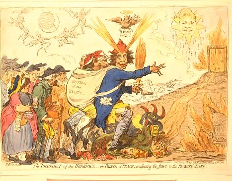"1795 print showing Richard Brothers holding a Bible turned to Book of Revelations, carrying on his back a ""Bundle of the Elect"" containing Charles James Fox, Richard Brinsley Sheridan, Charles Stanhope, and Lord Lansdowne, and trampling a seven-headed monster; he leads the Jews to a burning ""Gate of Jerusalem"" with three nooses attached."