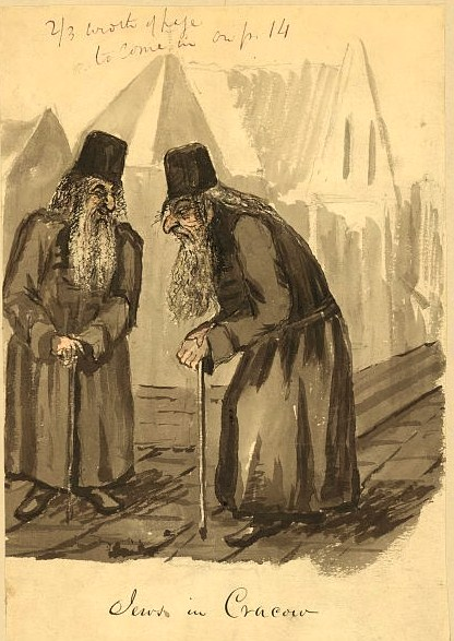 Drawing shows two elderly Jewish men in the Polish city of Cracow. They are dressed in long robes or coats, have long hair and beards, wear round hats and lean against canes. Bayard Taylor may have traveled through Poland in 1856 and 1857 after the death of his first wife or when he served in the Russian legation in 1862 and 1863.