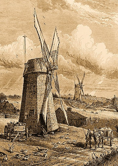 illustration from 'Grist Wind-mills at East Hampton,' Picturesque America, New York, 1872. HOOK WINDMILL IN FOREGROUND, PANTIGO WINDMILL IN BACKGROUND - Hook Windmill, North Main Street at Pantigo Road, East Hampton, Suffolk County, NY
