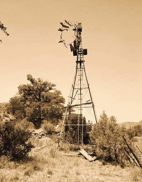 WINDMILL, LOOKING WEST - Faraway Ranch, Cattle Tank Retaining Wall & Windmill, Willcox, Cochise County, AZ