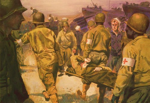Evacuating Wounded Soldiers England, World War II Harrison Standley, 1944 Stretcher bearers of a medical battalion carry a casualty from the hold of an LST to a waiting ambulance which will take them to a nearby field hospital. The LST had just returned from Normandy bringing about 300 ambulatory casualties and about 30 stretcher cases. Seamen from the LST's and soldiers about to embark for France watch with interest. On board the evacuating LST's the cases are cared for by Navy medical personnel, June 1944.